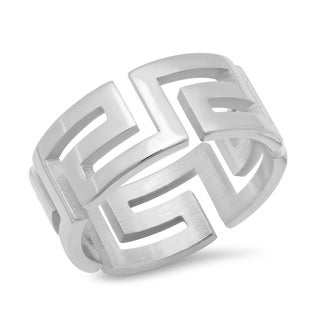 Stainless Steel Greek Key Band Ring in 3 colors
