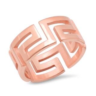 Piatella Ladies Stainless Steel Greek Key Band Ring in 3 colors