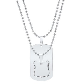 His and Hers Shield Puzzle Piece and Dog Tag Necklace