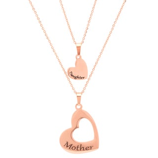 Piatella Ladies Stainless Steel Mother and Daughter Heart Pendants in 3 colors