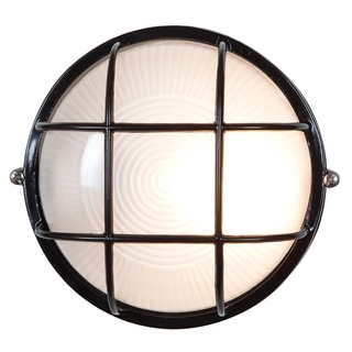Access Lighting Nauticus 1-light Fluorescent 7-inch Black Outdoor Bulkhead with Frosted Glass