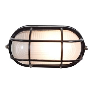Access Lighting Nauticus 1-light Fluorescent 11-inch Black Outdoor Grid Bulkhead with Frosted Glass