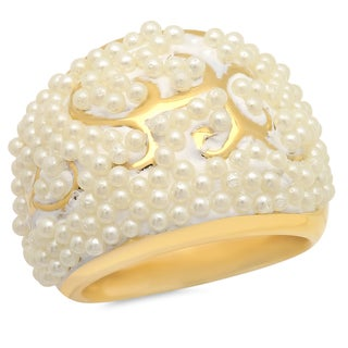 Stainless Steel Pearl Cocktail Ring - Gold