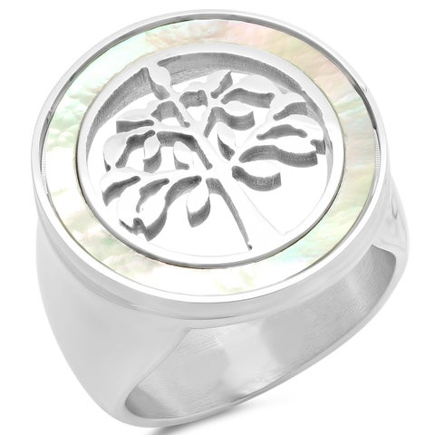 Piatella Ladies Stainless Steel Mother of Pearl Tree of Life Cocktail Ring in 2 Colors