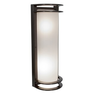 Access Lighting Nevis 2-light 17-inch Bronze Outdoor Wall Light with Ribbed Frosted Glass