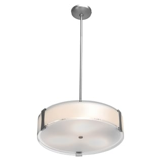 Access Lighting Tara 2-light Fluorescent Brushed Steel Pendant with Opal Glass