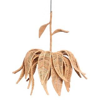 Beige Jute Lotus Handwoven Hanging Pendant Chandelier