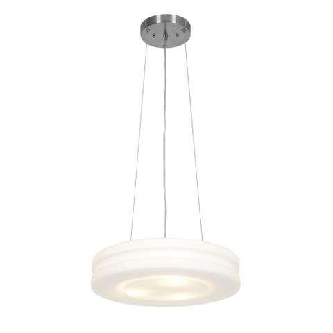 Access Lighting Altum 3-light 16-inch Brushed Steel Pendant with Opal Glass