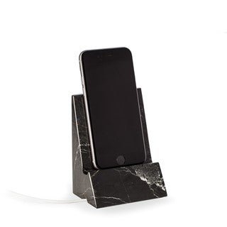 Black Zebra Marble Desktop Phone Cradle