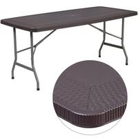 32.5-inch wide x 67.5-inch long Rattan Plastic Folding Table