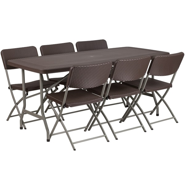 32 5 Inch Wide X 67 Long Rattan Plastic Folding Table Set With 6 Chairs Free Shipping Today 16724229