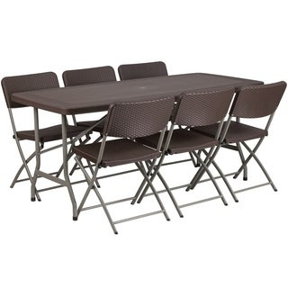 32.5-inch wide x 67.5-inch long Rattan Plastic Folding Table Set with 6 Chairs
