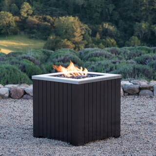 Morton Outdoor Square Stainless Steel Propane Fire Pit by Corvus