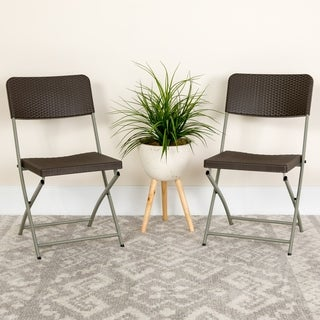 HERCULES Series Rattan Plastic Folding Chair with Grey Frame