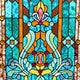 "28""H Tiffany Style Stained Glass Fleur de Lis Fireplace Screen - Green - Thumbnail 2"