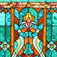 "28""H Tiffany Style Stained Glass Fleur de Lis Fireplace Screen - Green - Thumbnail 3"
