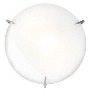 Access Lighting Zenon 1-light LED Brushed Steel Flush Mount with Opal Glass
