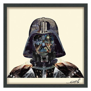 Empire Art 'Dark Side' Hand Made Signed Art Collage by EAD Artists Co-op under Tempered Glass in Black Frame