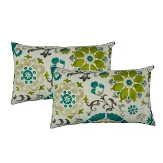 Sherry Kline Flower Power Teal Indoor/Outdoor Boudoir Pillow (Set of 2)