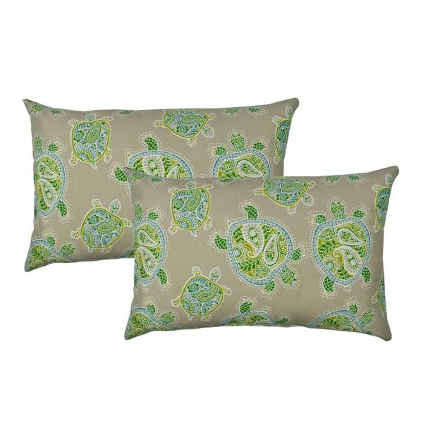 Sherry Kline Sea Turtles Green Indoor/Outdoor Boudoir Pillow (Set of 2)