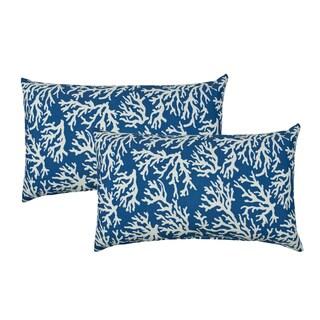 Sherry Kline Coral Reef Blue Indoor/Outdoor Boudoir Pillow (Set of 2)