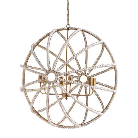 """Mercana Ava White (34"""") Gold Metal and White Wood Beaded Six Bulb Chandelier - 34.0L x 34.0W x 34.0H"""