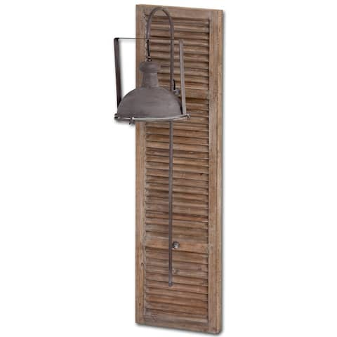 Mercana Tiposo 15 x 53 Brown Wood Slated Body Copper Metal Light Wall Sconce - 15.0L x 15.0W x 53.0H