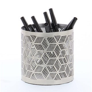 Elegant Pencil Can Holder Silver