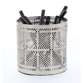Classy Pencil Can Holder Silver