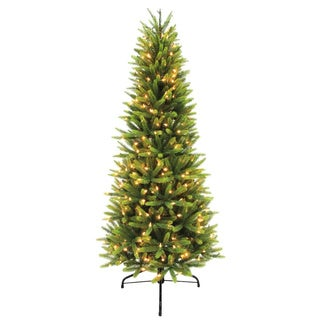 Puleo International Green Plastic Slim Pre-lit Artificial Christmas Tree