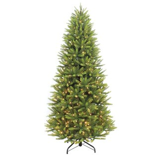 Puleo International Prelit Slim Washington Valley Spruce Green Artificial 7.5-foot Christmas Tree With 500 White LED Lights