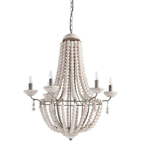 """Mercana Phillum (29""""x 37"""") Silver Metal Chassis and White Wood Beaded Six Bulb Chandelier - 29.0L x 29.0W x 37.0H"""
