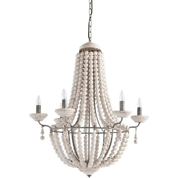 Shop Mercana Phillum Cream Wood Hanging Light Fixture - Free ...