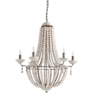 Mercana Phillum Cream Wood Hanging Light Fixture