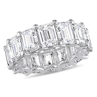 Miadora Signature Collection 18k White Gold 14-1/10ct TDW Emerald-Cut Diamond Eternity Band (GIA Cer