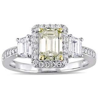 Miadora Signature Collection 14k White Gold 1-3/4ct TDW Yellow and White Diamond 3-Stone Engagement Ring