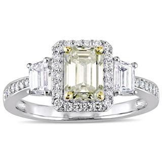 Miadora Signature Collection 14k White Gold 1-3/4ct TDW Yellow and White Diamond 3-Stone Engagement|https://ak1.ostkcdn.com/images/products/16732404/P23045607.jpg?impolicy=medium