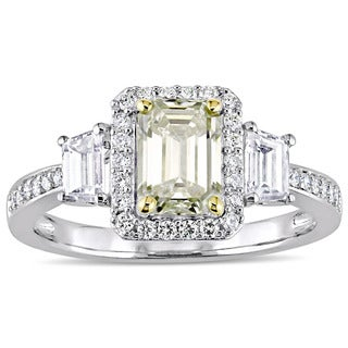 Miadora Signature Collection 14k White Gold 1-3/4ct TDW Yellow and White Diamond 3-Stone Engagement