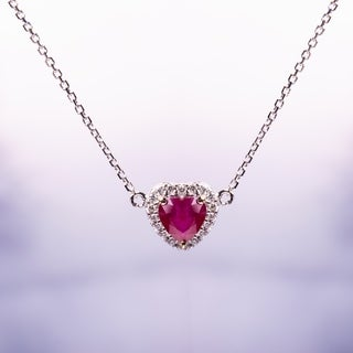 Miadora Signature Collection 14k White Gold with Yellow Gold Prongs Heart-Cut Ruby and Diamond Halo Stationed Necklace