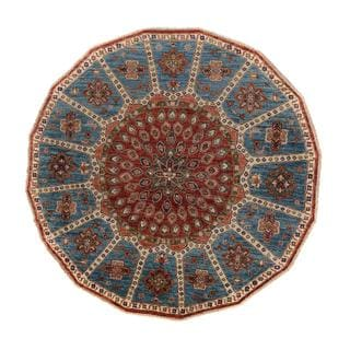 Arshs Kurjean Arya Collection Harris Red/Blue Hand-knotted Wool Rug (5'7 Round)