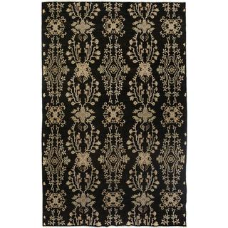 Arshs Fine Rugs Kafkaz Peshawar Weldon Black Wool Hand-knotted Area Rug - 6' x 9'