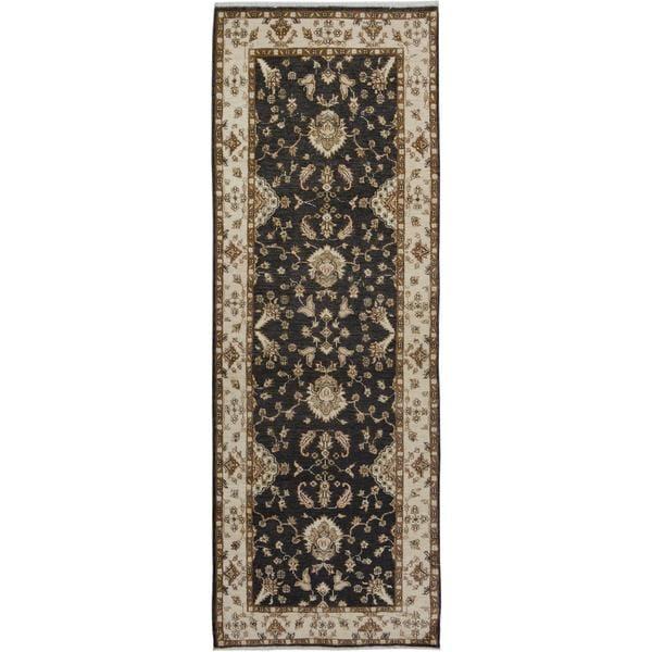 Arshs Kafkaz Peshawar Hung Grey/ Ivory Wool Runner (3'x8'6)