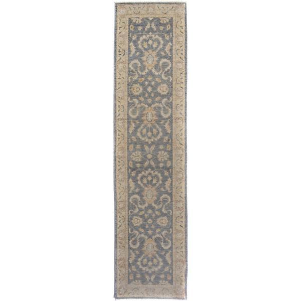 Arshs Fine Rugs Kafkaz Peshawar Genaro Grey/Tan Wool Hand-knotted Runner Rug (2'6 x 9'11)
