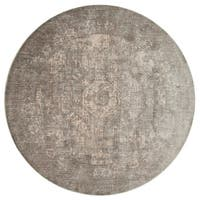 Traditional Grey/ Sage Medallion Distressed Round Rug - 9'6 x 9'6
