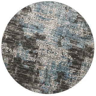 Augustus Charcoal/ Blue Rug (7'10 x 7'10 Round)