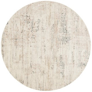 "Distressed Antique Ivory/ Grey Vintage Inspired Round Rug - 7'10"" x 7'10"" Round"