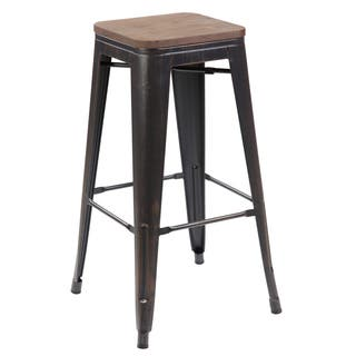Amalfi Vintage Matte Black Silver Steel Barstool Set Of 4