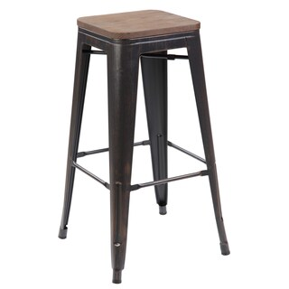 Antique Black Iron 26-inch Industrial Counter Dining Bar Stool with Plywood Board (Set of 4)