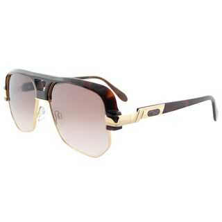 Cazal Unisex Square Cazal 672 080SG Amber/Goldtone Framed Sunglasses with Brown Gradient Lens
