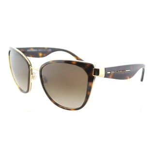 Dolce & Gabbana Women's Cat-eye DG 2107 02/13 Gold-framed Sunglasses with Brown Gradient Lens